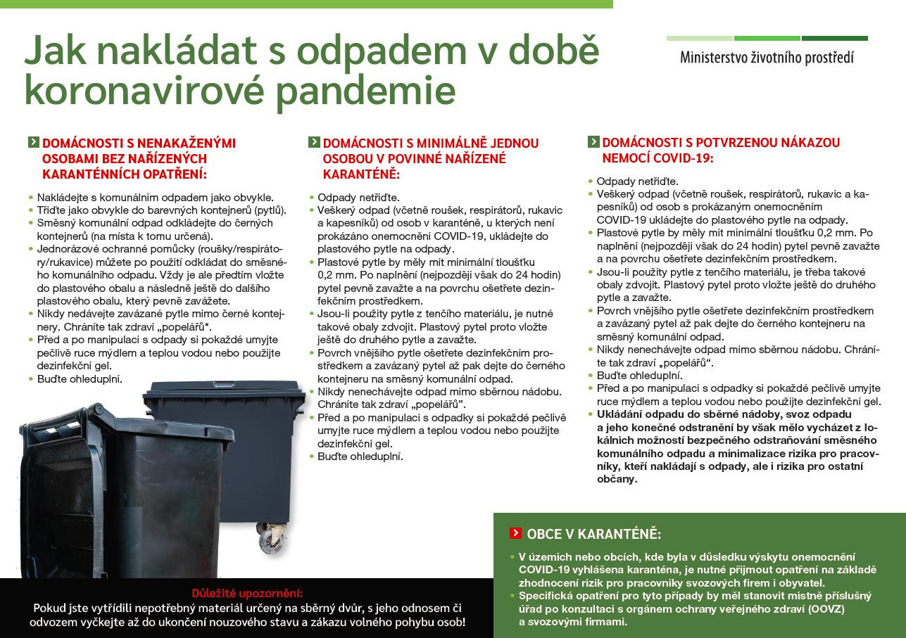 Způsob nakádání s odpady v době pandemie